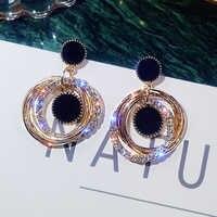 Mode Hohe Qualität Symmetrischen Stern Runde Ohrringe Multi-schicht Metall Ohrringe Temperament Temperament Ohrringe