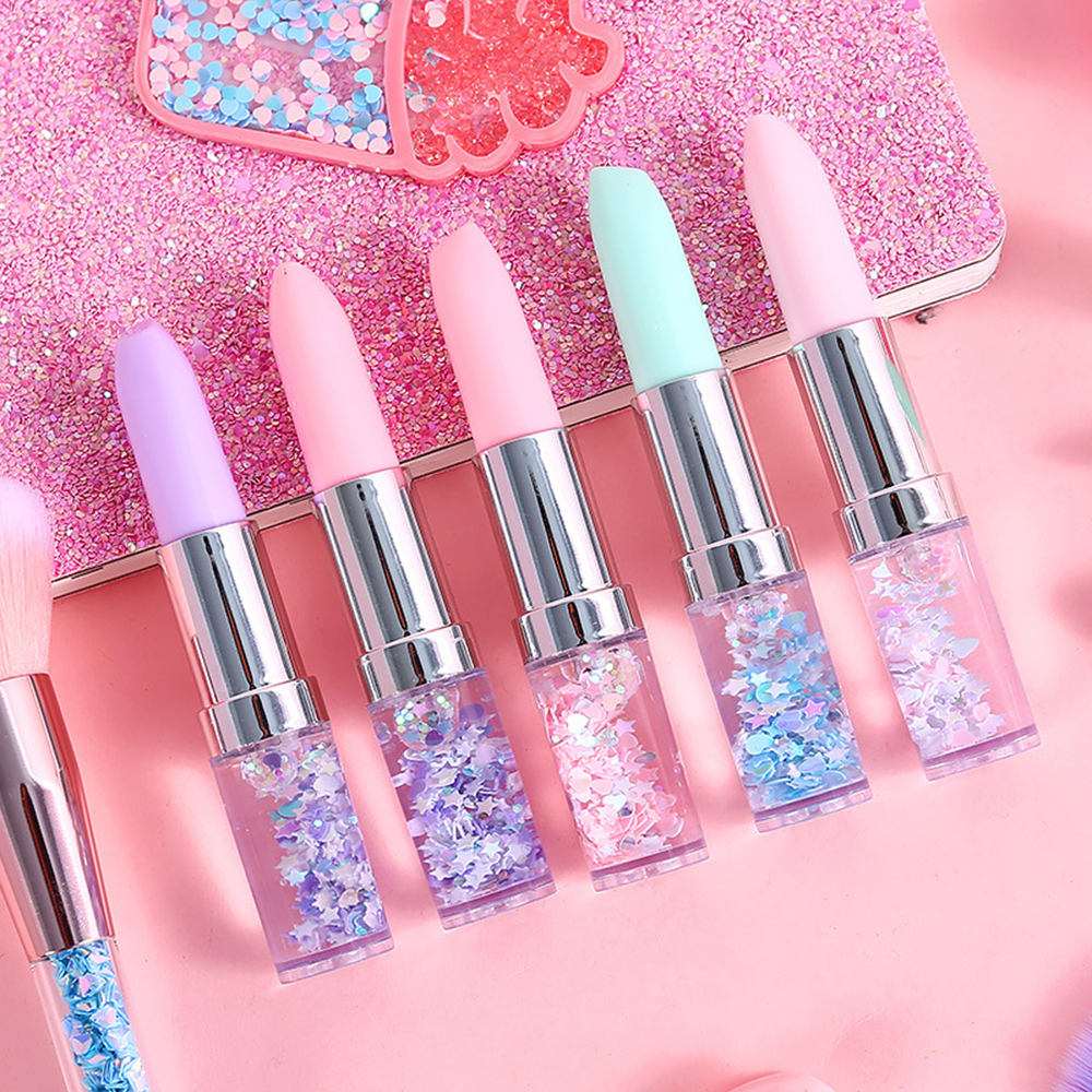 1 Pcs Creative Pen Lipstick Shape Glitter Gel Pen Quicksand 0.5mm Signature Pen Stationery School Office Supplies