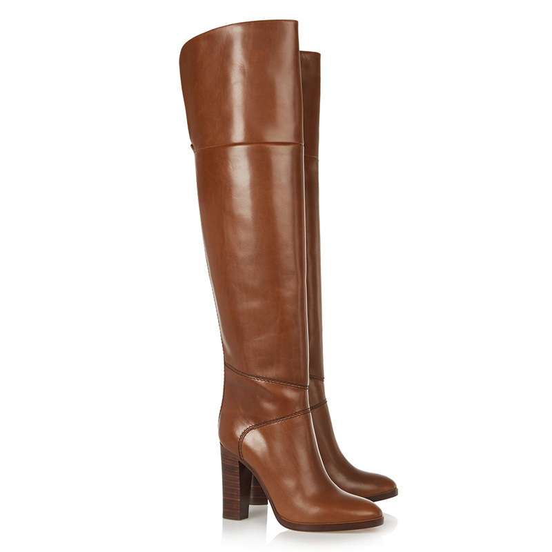 Women's Over The Knee Boots Brown Thick Square Heel High Heeled Knee High Motorcycle Boots Genuine Leather Shoes Woman Botas