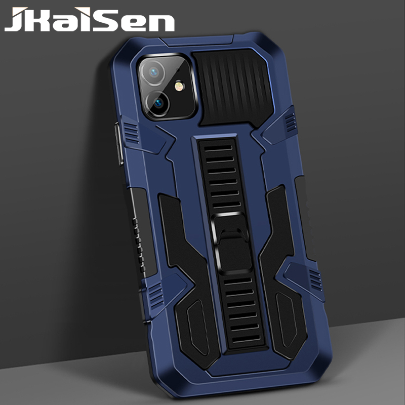 JKaiSen Shockproof Bracket Phone Case For OPPO Realme C20 Strong Anti-Fall Armor Kickstand Protective Cover For OPPO Realme C21