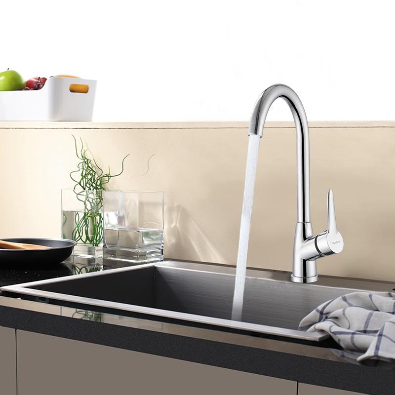 King Sanitary Ware Kitchen Faucet Washing Basin Hot And Cold Bathroom Sanitary Ware Sink Faucet Single Bore Rotatable Wholesale