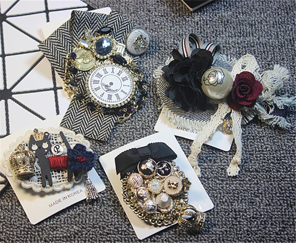 Korean Handmade Women Girl Brooch Pins Badge Series Set Tassel Cat Plaid Big Metal Chain Wholesale Coat Fashion Accessories-SWF