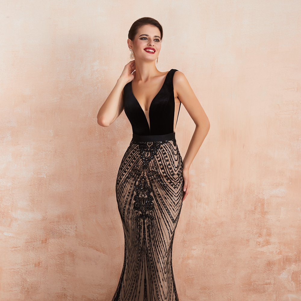 Elegant Black Slit Lace See Through Bodycon Long Evening Dress 6
