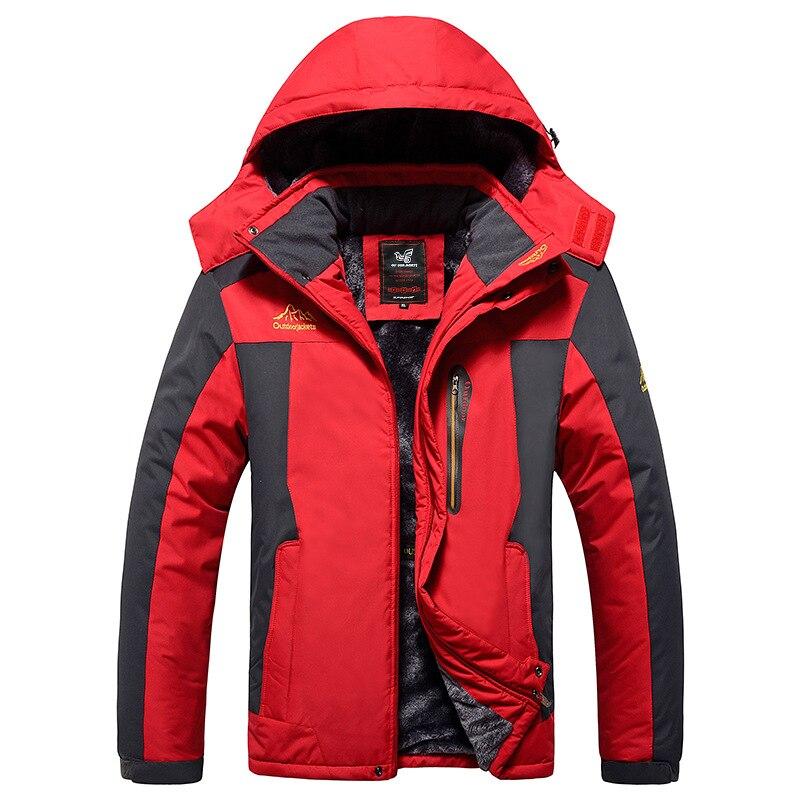 Men Ourdoor Plus Size 9XL Quick Dry Waterproof Streetwear Overcoat Winter Warm Plush Padded Men Hooded Long -25'C Parkas Coats
