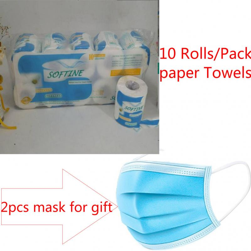 10 Rolls/Pack Home Kitchen Toilet Roll Paper Tissue Smooth Soft 3-Ply Toilet Paper  Interior Car Paper Towels Mask For Gifts NEW