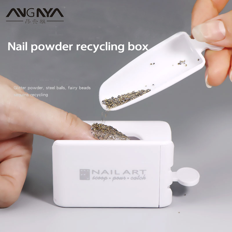 ANGNYA Portable Dipping Powder Recycling Tray White Nail Glitter Magic Mirror Powder Sequin Rhinestone Recycling Box Manicure(China)
