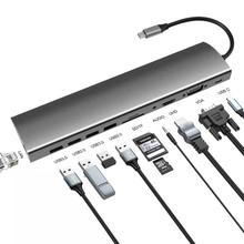 USB C концентратор к 4 USB3.0 HDMI VGA UHD Gigabit Ethernet SD/TF PD зарядный адаптер USB C док станция type c концентратор конвертер 11 в 1