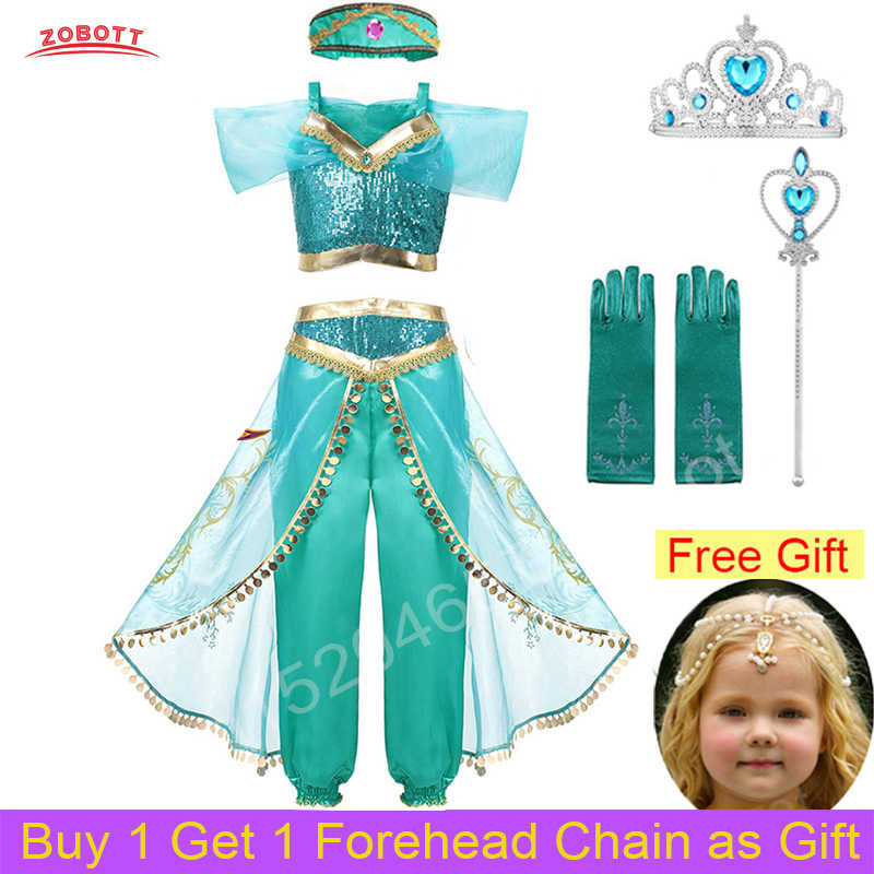 Girls Princess Jasmine Costume Party Princess Dress Fancy Clothing Set Top Pants  Child Aladdin the Magic Lamp with Free Gift