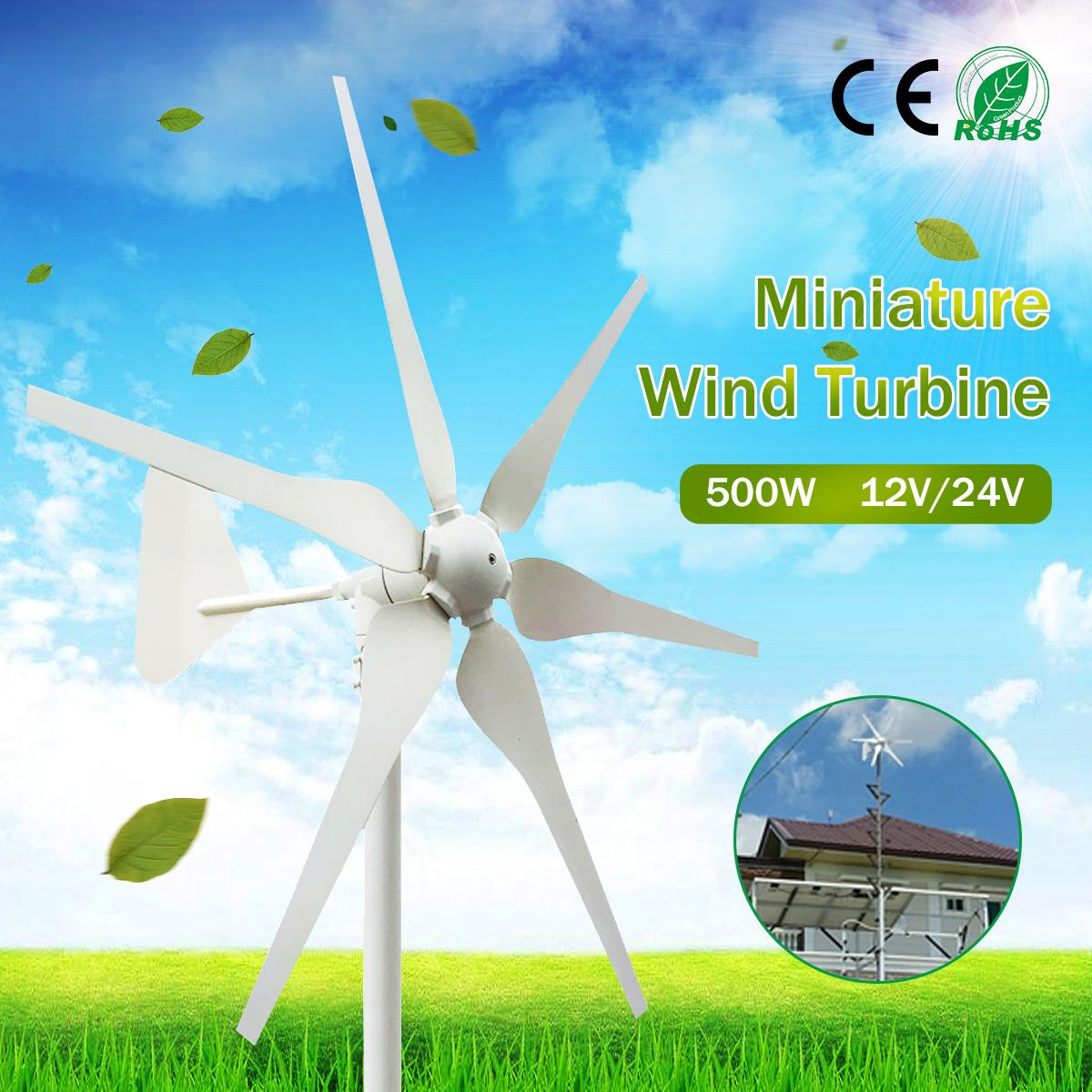 Becornce 500W 12V/24V AC Generator Wind Turbines Generator Miniature Wind Turbines With Controller for Residential Home Use