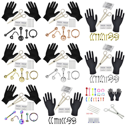1 Set Tongue Eyebrow Nose Belly Button Body Jewelry Piercing Rings Clamp Gloves Needles Tool Kit Ear Plug Prong Studs 16G 14G