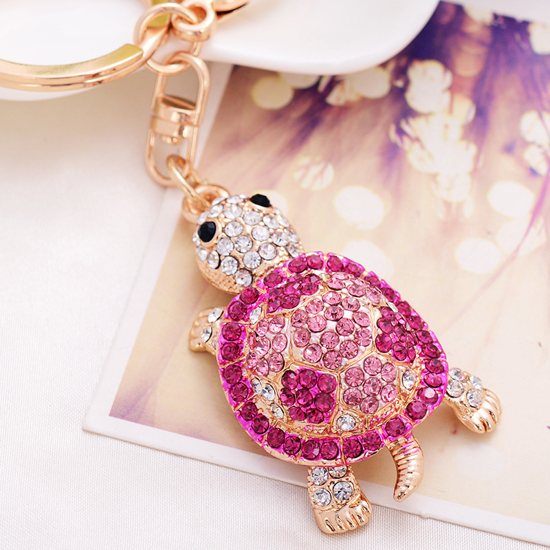 Fashion Rhinestone Small Turtle Keychains Color Turtle Keychain Woman's Bag Hanging Ornament And Car Decoration Metal Keychains