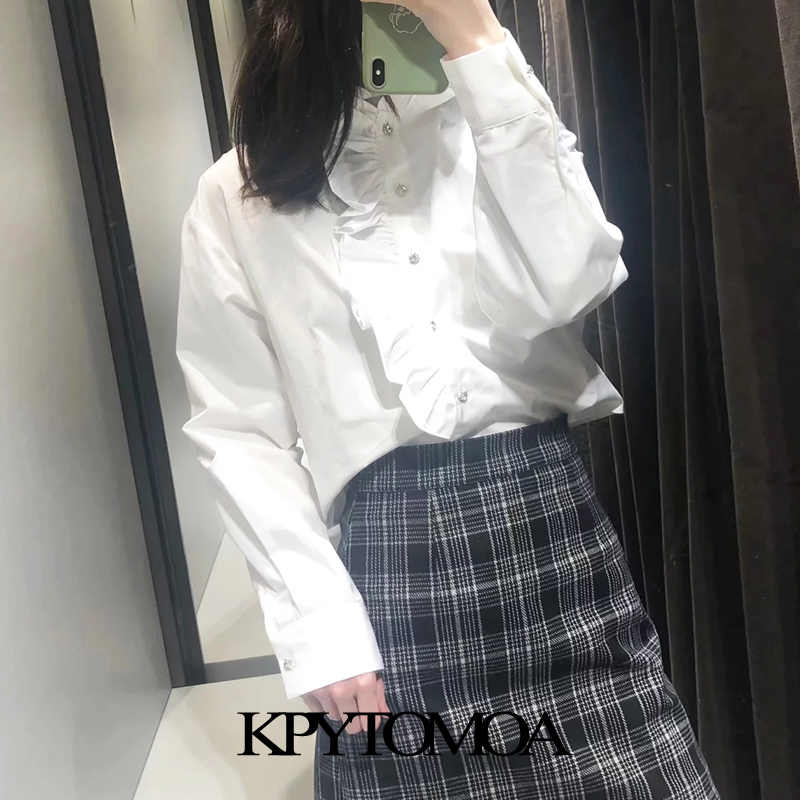 빈티지 달콤한 보석 단추 주름 장식 블라우스 여성 2020 패션 높은 칼라 긴 소매 여성 셔츠 Blusas Chic Tops