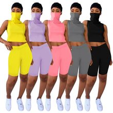2020 Two Piece Set Women Tracksuit Summer Outfits Fitness Mask Crop Top And Biker Shorts Sweat Suit Lounge Wear Matching Sets(China)