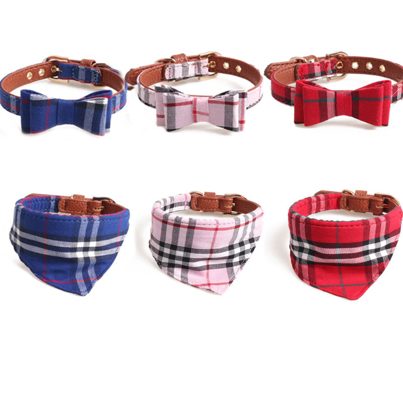 Amin Lattice New Products Neck Ring 2019 England Series Pet Collar Dog Neck Ring Fashion Classic Cat Neck Ring
