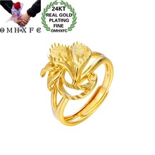 OMHXFC Jewelry Wholesale EJ94 European Fashion Fine Woman Girl Party Birthday Wedding Gift Vintage Vintage Flower 24KT Gold Ring(China)
