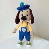 2019 100% hand knitted crochet with hat bib puppy cute animal dolls child comfort toys (finished products)