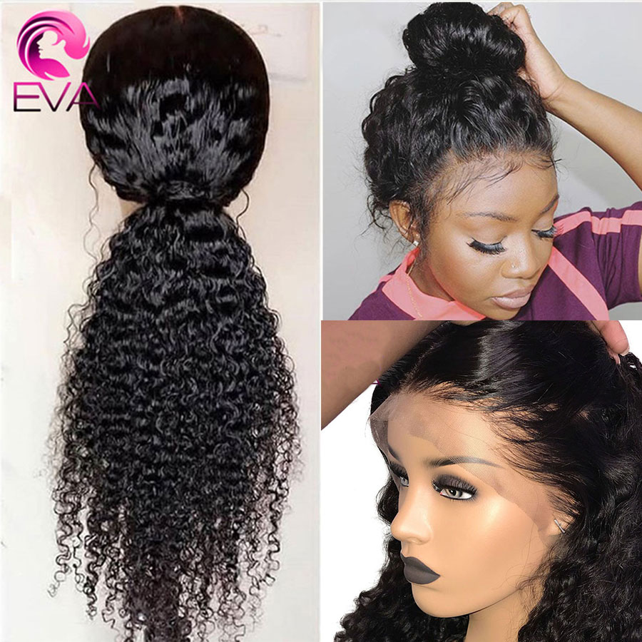 Eva Hair 360 Lace Frontal Wig Pre Plucked With Baby Hair Glueless Curly Human Hair Wigs For Black Women Brazilian Remy Hair