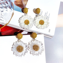 Sweet summer sunflower resin earrings Korean super fairy face thin flower exaggerated personality network red