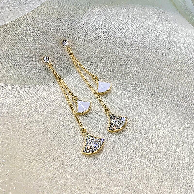 Us 1 86 New Silver Needle Fan Shaped Fringed Female Korean Jewelry Earrings Luxury Designer For Women On Aliexpress 11 Double