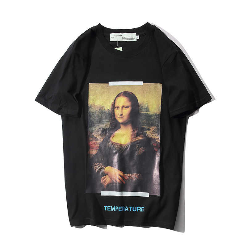 Summer New Style off OWF White MONALISA Oil Painting Arrow Ow Short Sleeved Loose Cotton T-shirt Men's And Women's-