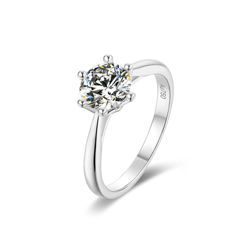BOEYCJR 925 Silver Heart 1ct D color Moissanite VVS1 Elegant  Engagement Wedding Ring With national certificate for Women Gift