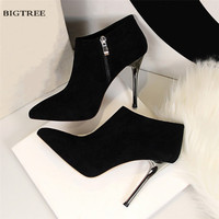 New Autumn Winter Boots European Fashion High Heel Boots Thin Heeled Ankle Boot Zipper Pointed Suede Sexy Women Shoes H8663 2