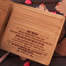 Engraved Wallet Laser Card-Holder Short Purse Bifold Vintage VE3001-3015 Birthday-Gift-Box