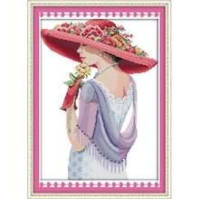 Штампованные наборы для вышивки крестиком красота женщина 14ct