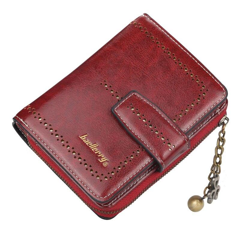Fashion Hollow Out Design Wallet Women Leather Wallets Zipper Purse Small Vallet Lady Walet Red Pink Short Cute Portfel Damski
