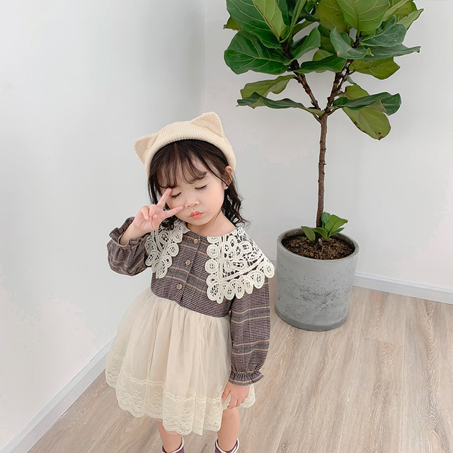 2019 Autumn New Arrival Korean style cotton plaid matching princess long sleeve dress with lace collar for cute sweet baby girls