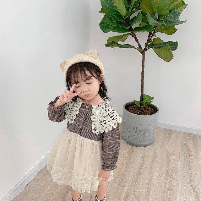 2019 Nuovo Arrivo di autunno del cotone di stile Coreano plaid corrispondenza principessa abito a manica lunga con colletto di pizzo per sveglio del bambino dolce ragazze
