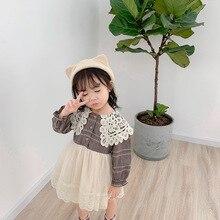 2019 jesień nowy nabytek koreański styl bawełniana w kratę dopasowana sukienka księżniczki z długim rękawem z koronkowy kołnierzyk dla ślicznych słodkich dziewczynek