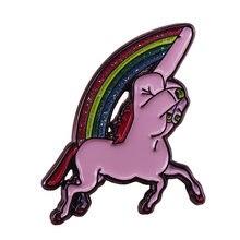 Arco-íris unicórnio broche bonito brilho pinos cheeky médio dedo distintivo lgbt variante orgulho jóias engraçado trocadilho arte