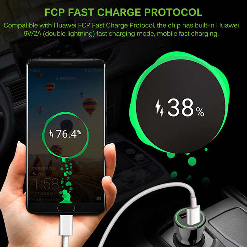 Onever 車の充電器 QC3.0 充電器急速充電 12 v-24 v 車アダプタサムスン Xiaomi iPhone Huawei 社のタブレットミニ USB 電話の充電