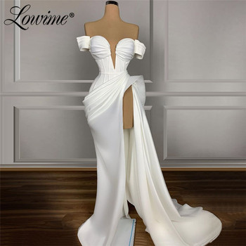 Ivory Evening Dress Plus Size Dubai Celebrity Dresses Wedding Party Gown With High Split Side Cheap Prom Vestidos De Noche - discount item  50% OFF Special Occasion Dresses