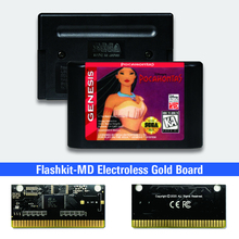 "פוקהונטס ארה""ב תווית Flashkit MD Electroless זהב PCB כרטיס עבור Sega Genesis Megadrive וידאו קונסולת משחקים"