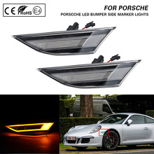 2X Clear lens LED Front Side Marker Lights turn signal lamp for PORSCHE 991 Carrera S 4 4S GTS GT3 Boxster Cayman 718 Boxster for porsche cayman 987 boxster headlights2004 2008 projector lens drl light function amber turn light new arrival
