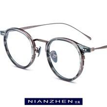 B titânio acetato óculos quadro homens de alta qualidade do vintage redondo quadros ópticos óculos para mulher óculos 1850