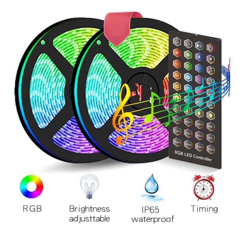 Waterproof DIY 10m 300 LED Colorful Light Strips Sound Control Light String Decorative Strip For Bar Stages Concerts