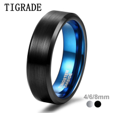 Tigrade Men Tungsten Ring 4/6/8mm Black Man Rings Women Finger Band Silver Blue Inside Cool Classic Wedding Engagement