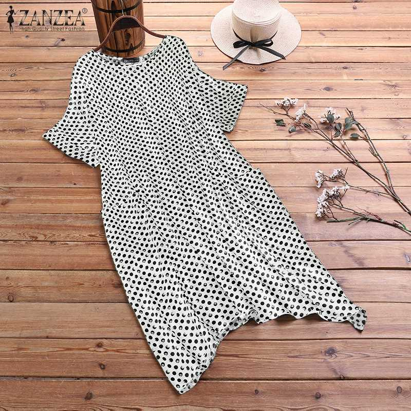 Plus Size Robe Women's Printd Sundress ZANZEA 2020 Bohemian Polka Dot Summer Dress Casual Short Sleeve Knee Length Vestidos 5XL