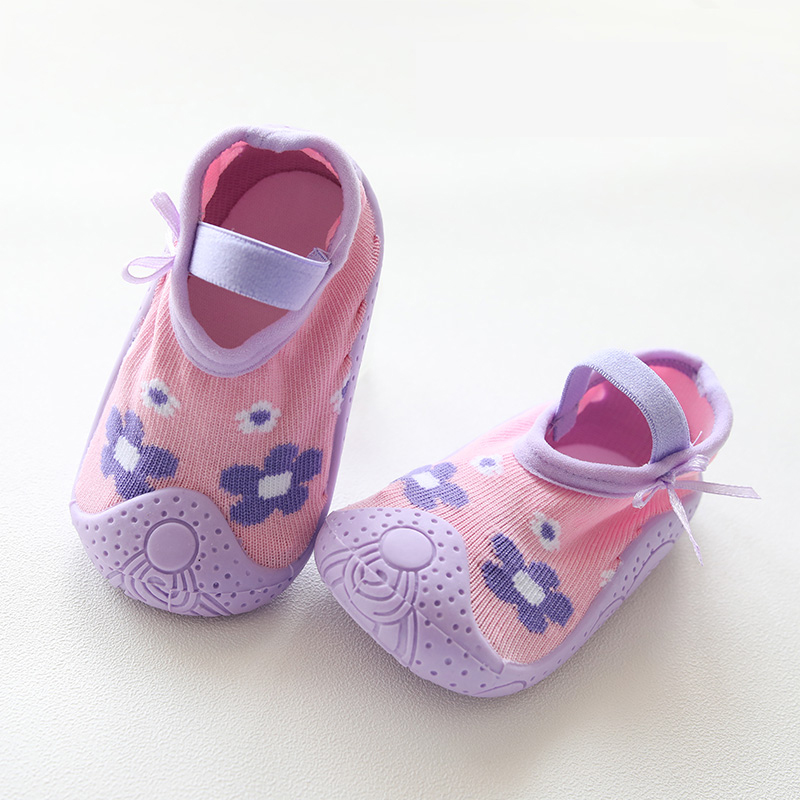Baby Socks Rubber Sole Toddler Indoor Sock Shoes Anti Slip Home Slippers Girl Baby Rubber Soled Socks Skid Resistant Slipper