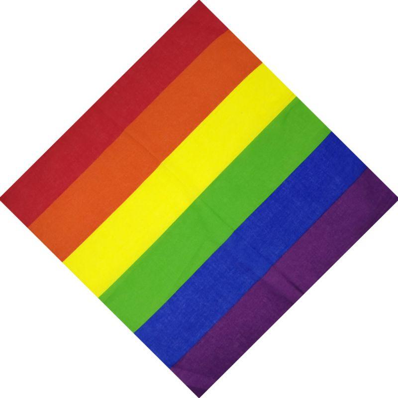 Festival Rainbow Colorful Seven Stripes 55x55CM Unisex Cotton Pocket Square Scarf Headband Bandana Gay Parade Wristband Neck Tie