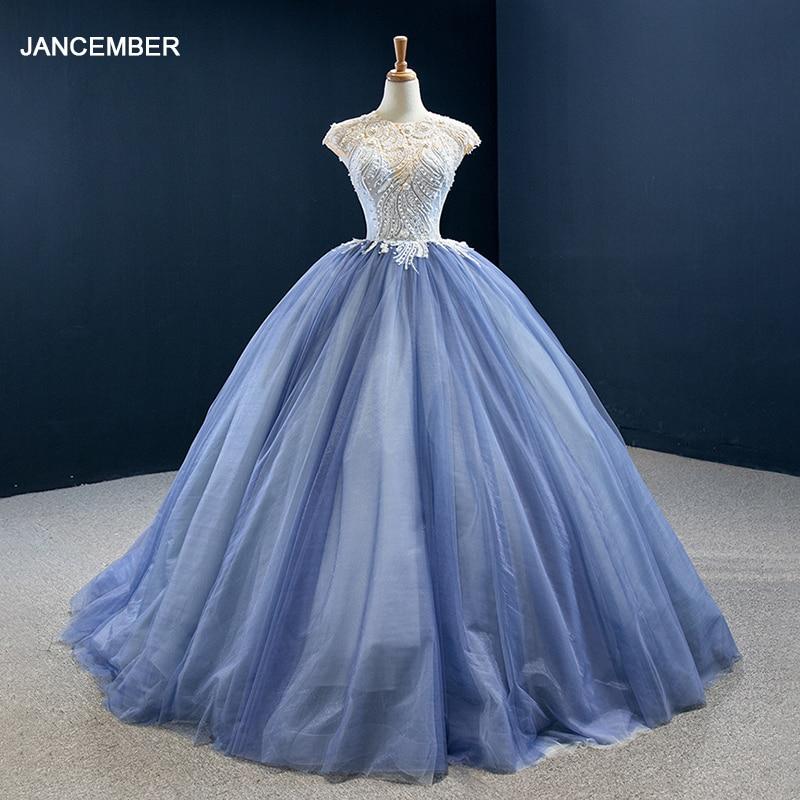 RSM67139 Blue Customizable Luxury Elegant Pearl Banquet Evening Dress 2021 Applique Printing Decoration Party Formal Dress 1