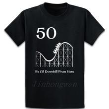 50 cumpleaños Downhill Montaña Rusa camiseta Fitness manga corta impreso Vintage Basic lisa, primavera Casual O cuello camisa
