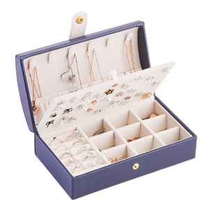 Image 1 - Nouvelle boîte à bijoux fraîche et Simple en polyuréthane Portable arqué 2 couches petite boucle doreille anneau multifonctionnel en cuir boîte demballage de bijoux