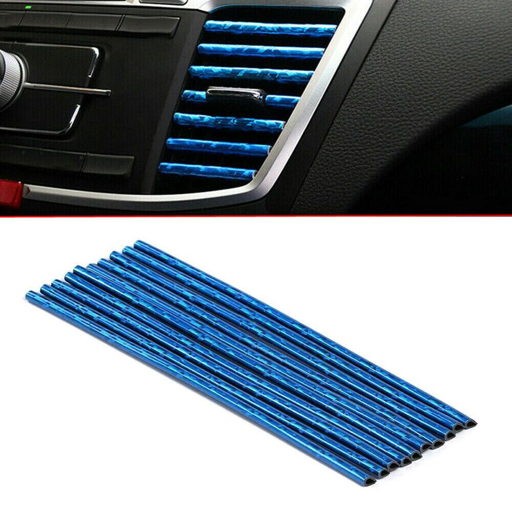 Car Accessories 10PCS Auto Car Air Outlet Decoration Strip 7 Color Electroplated Silver DIY Car Air Vent Trim Strip Car-styling