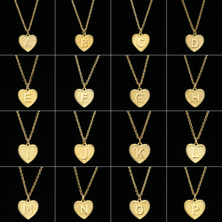 Newest Simple Gold 26 Letter Necklaces Alphabet Heart Initial Charm Necklace for Women Party Fashion Jewelry collier femme 2020