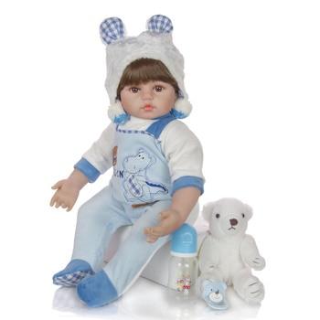60CM Baby Reborn toddler boy Doll 24 Inch soft silicone vinyl reborn dolls Soft Cloth Body lifelike Boneca Reborn Kids Playmate
