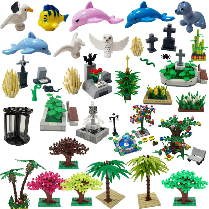 City Series Seagull Fish Dolphin Bamboo Model Toys Educational Building Blocks Suitable for Kids Compatible Accessories Cities
